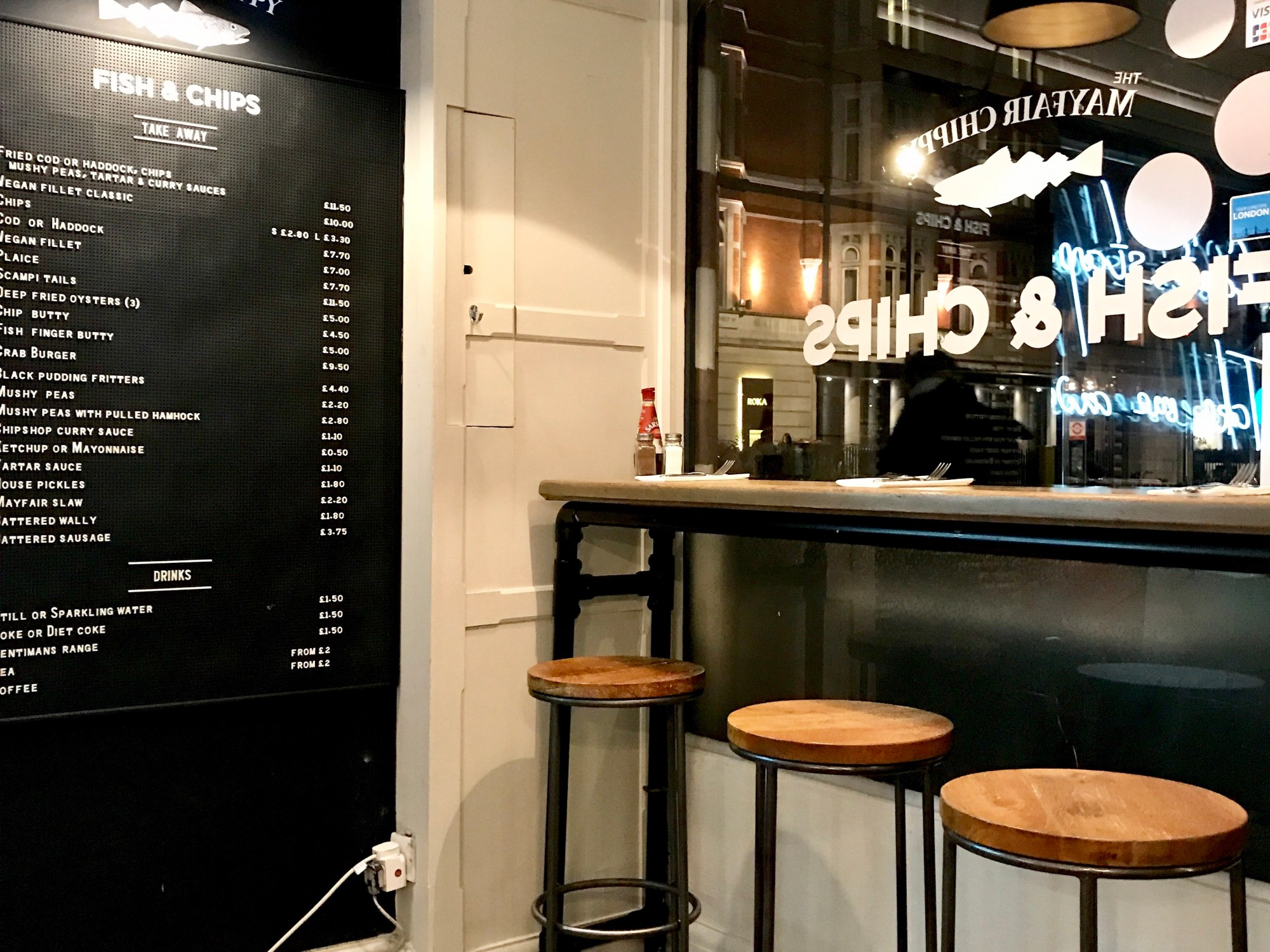 Window seats at Mayfair Chippy