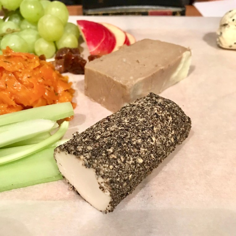 Vegan cheese with a black pepper layer