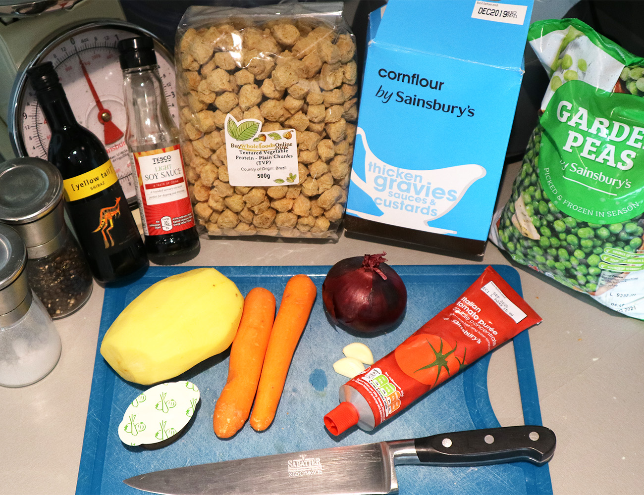All the ingredients for the 'beef' stew recipe