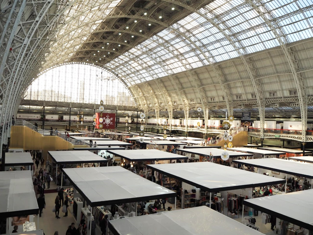 A view of the roofed stalls from the second level