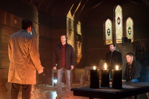 """Supernatural -- """"Hell's Angel"""" -- ImageSN1118A_0284.jpg -- Pictured (L-R): Misha Collins as Castiel, Jared Padalecki as Sam, Mark Sheppard as Crowley and Jensen Ackles as Dean -- Photo: Liane Hentscher /The CW -- © 2016 The CW Network, LLC. All Rights Reserved"""
