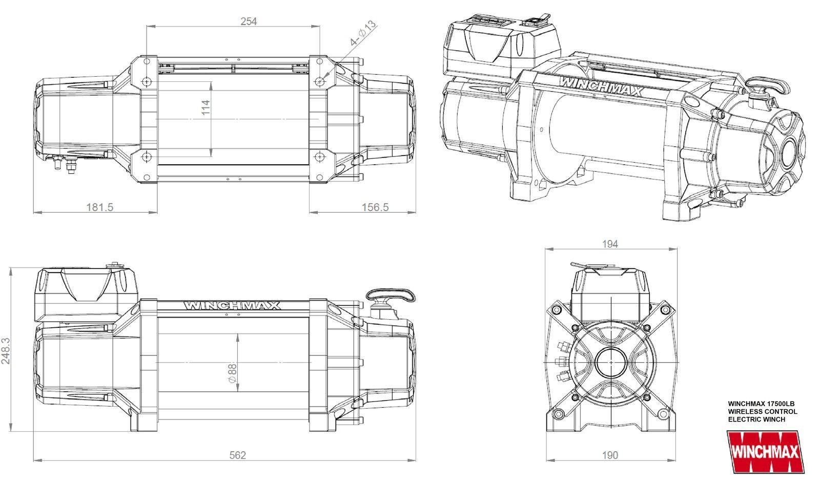 WINCHMAX original orange 12v electric winch. 17,500lbs (7