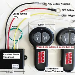 Wireless Winch Remote Wiring Diagram 3 Port Mid Position Valve Control Twin Handset Winchmax Brand 12v 12 Volt | Ebay