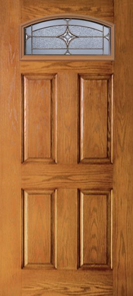 Oak Grain 4 Panel Camber Top door with Astrid glass