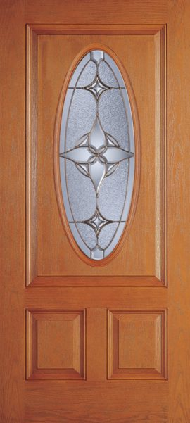 Oak Grain 2 Panel 3/4 Lite Oval Elite door with Astrid glass