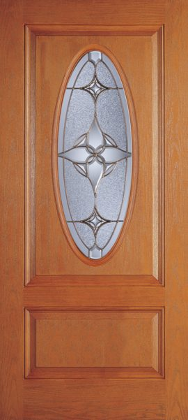 Oak Grain 1 Panel 3/4 Lite Oval Elite door with Astrid glass