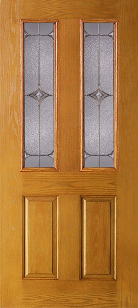 Oak Grain 2 Panel Twin 1/2 Lite door with Astrid glass