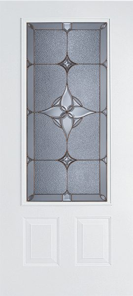 White 2 Panel 3/4 Lite door with Astrid glass