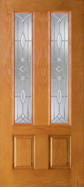 Oak Grain 2 Panel Twin 3/4 Lite with Aurora glass