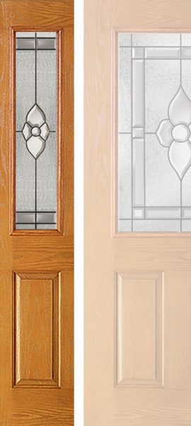 Oak Grain 1/2 Lite Sidelite with Dynasty glass