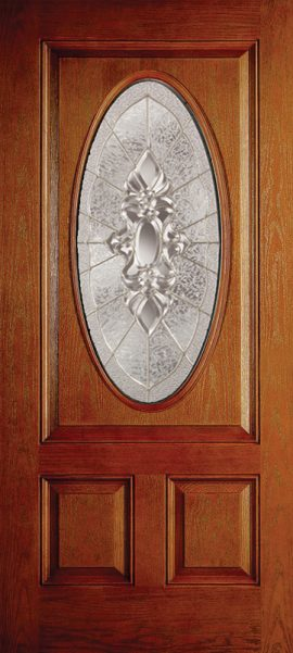 Oak Grain 2 Panel 3/4 Lite Oval Elite with Heirlooms glass