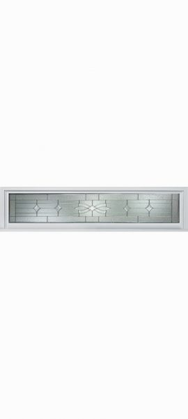 Smooth White Rectangle Transom with Laurel glass