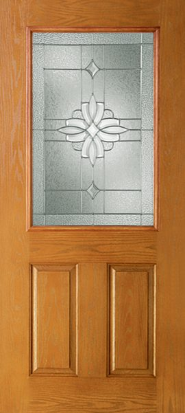 Oak Grain 2 Panel 1/2 Lite  with Laurel glass