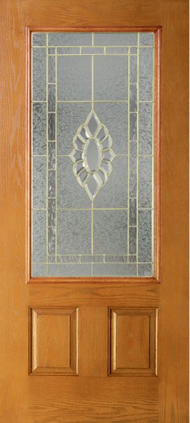 Oak Grain 2 Panel 3/4 Lite with Princess glass