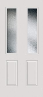 Smooth White 2 Panel Twin 1/2 Lite with Glue Chip glass