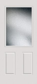 Smooth White 2 Panel 1/2 Lite with Glue Chip glass