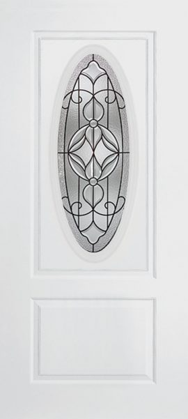 Smooth White 1 Panel 3/4 Lite Oval Elite with Renfield glass