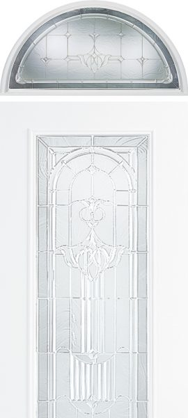 Smooth White Half Round Transom with Royal Fountain glass