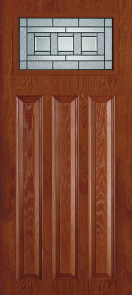 Oak Grain 3 Panel Craftsman with Vintage Craftsman glass