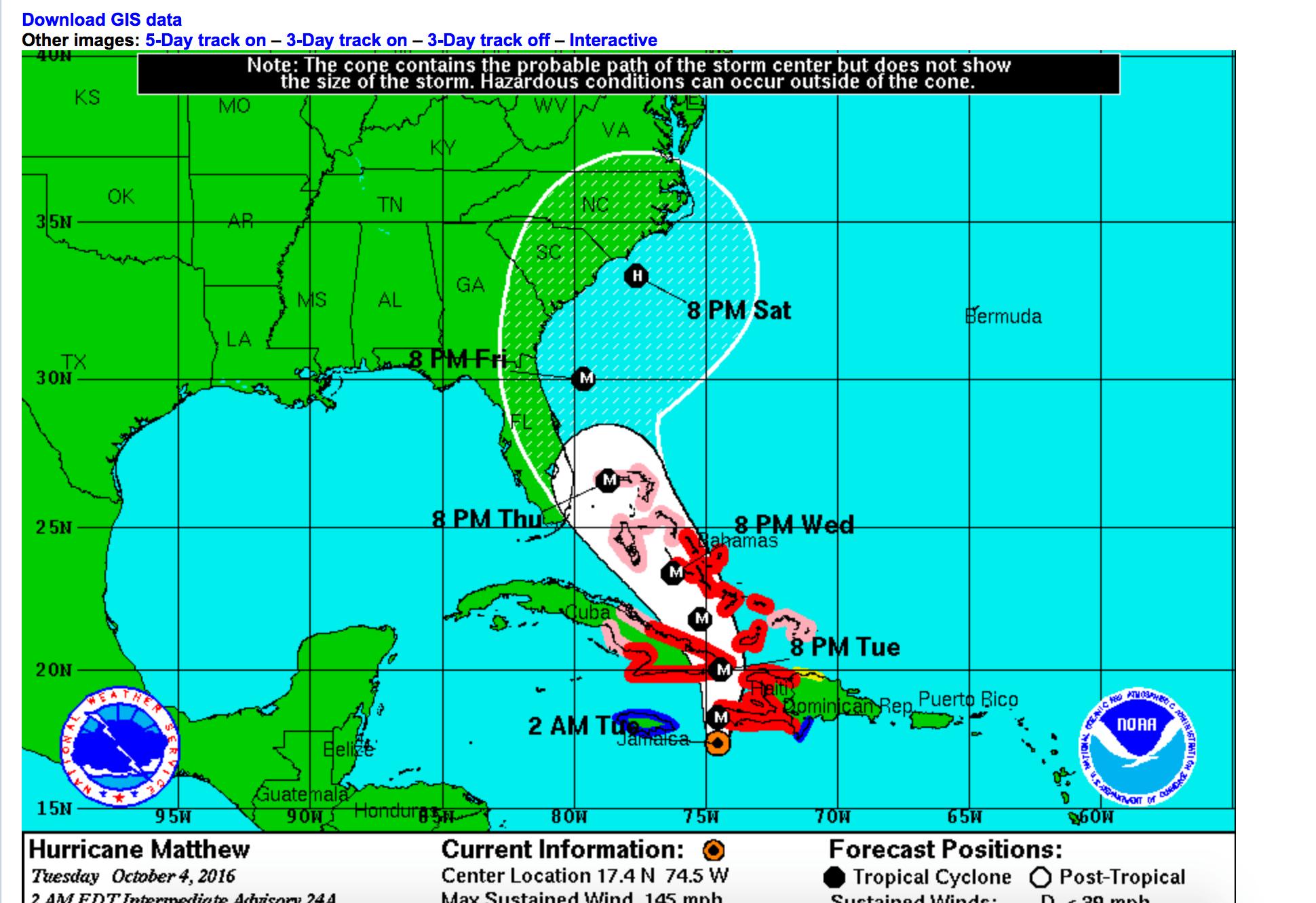 Hurricane Matthew: die vorhergesagte Zugbahn lässt nichts Gutes ahnen