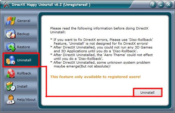 Exterior View Window DirectX Utilities Happy Uninstall