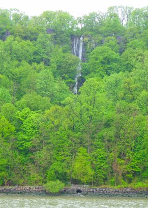 A waterfall plunges off the Palisades
