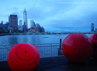 Dawn at Pier 40. Swim buoys are ready for deployment