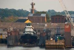 Tug in dry dock