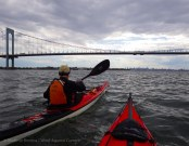 We approach the Bronx-Whitestone Bridge, with the city behind