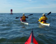 Jim and Rico peel off on their paddle along Coney Island to Dead Horse Bay