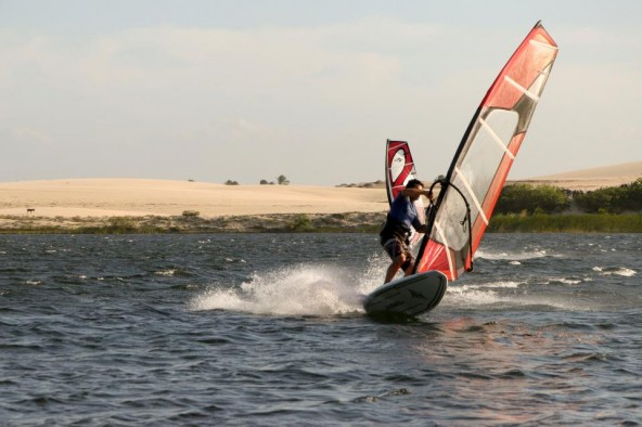 Lawrence windsurfing in Icarai