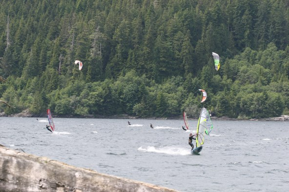 Lawrence windsurfing at Nitnat Lake