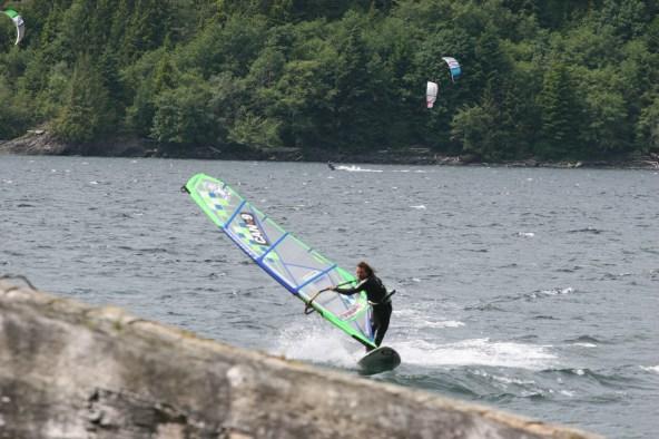 Phil Soltisiak windsurfing at Nitnat Lake