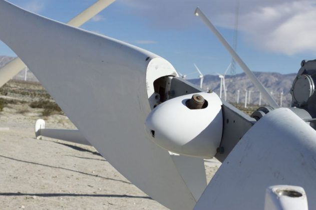 Closeup of a wind turbine roter.