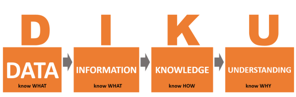 Hierarchy of data (know what) that can lead to information (know what), knowledge (know how) and understanding (know why)