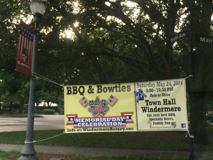 Memorial Day Celebration-BBQ & Bowties sign (credit: Windermere Sun-Susan Sun Nunamaker)