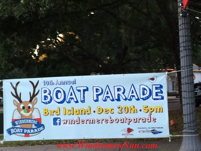 10th Annual Windermere Boat Parade, Dec. 20, 2014: Sunset social will begin at 5 pm on the North side of Bird Island.
