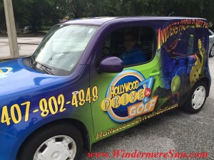 Front Side of the Vehicle of HollywoodDriveInGolf.com (credit: Windermere Sun-Susan Sun Nunamaker)