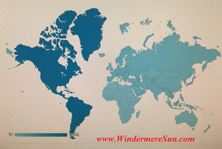 Visitors map from 6 continents (125 countries &1740 cities) between April 2015 to Nov 17, 2015 (reported by Google Analytics) to Windermere Sun.