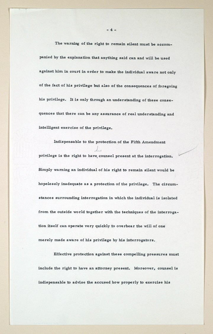 Page of the manuscript written by Chief Justice Earl Warren regarding the Miranda v. Arizona case. (Public Domain made available by Windermere Sun at www.WindermereSun.com)