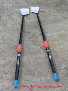 Sculling oars for competitive rowing (public domain made available by Windermere Sun, www.WindermereSun.com)