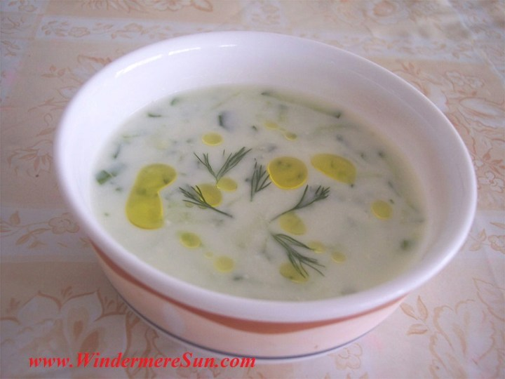 -Cacik, Turkish cold appetizer made from yogurt, public domain by Noumenon