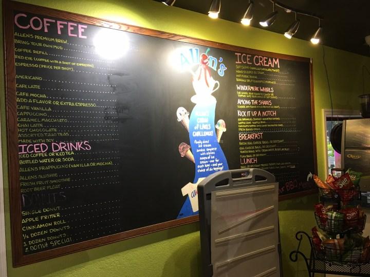 Allen's Creamery & Coffee House interior, menu, 523 Main Sstreet, Windermere, FL (credit: Windermere Sun-Susan Sun Nunamaker)