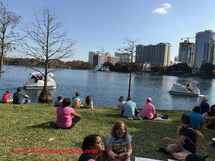 Sitting by Sunny Lake Eola with swan boat final