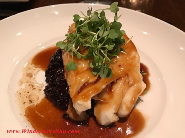 Asian Glazed Chilian Sea Bass w black rice, shiitake mushrooms, micro wasabi final