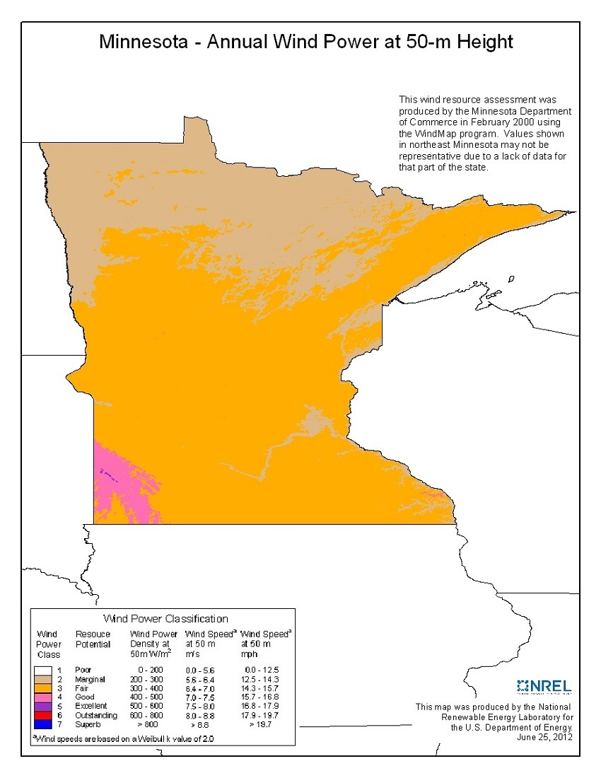 hight resolution of  minnesota 50 meter community scale wind resource map