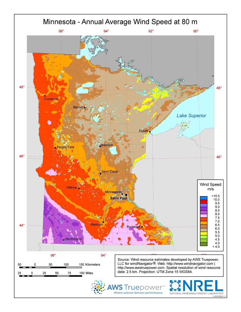 medium resolution of minnesota 80 meter wind resource map