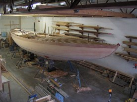 Early stages of wooden boat restoration