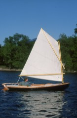 Melonseed skiff sailing on Lake Champlain