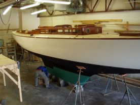 Mashnee in the shop at Darling's Boatworks